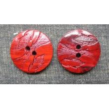 Botón rojo teja tipo madera, 2 agujeros, 15 mm