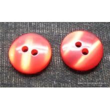 Botón rojo anaranjado, tipo nacarina, 28 mm