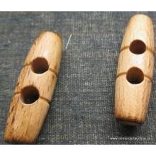 Botón de madera alargado, 38mm