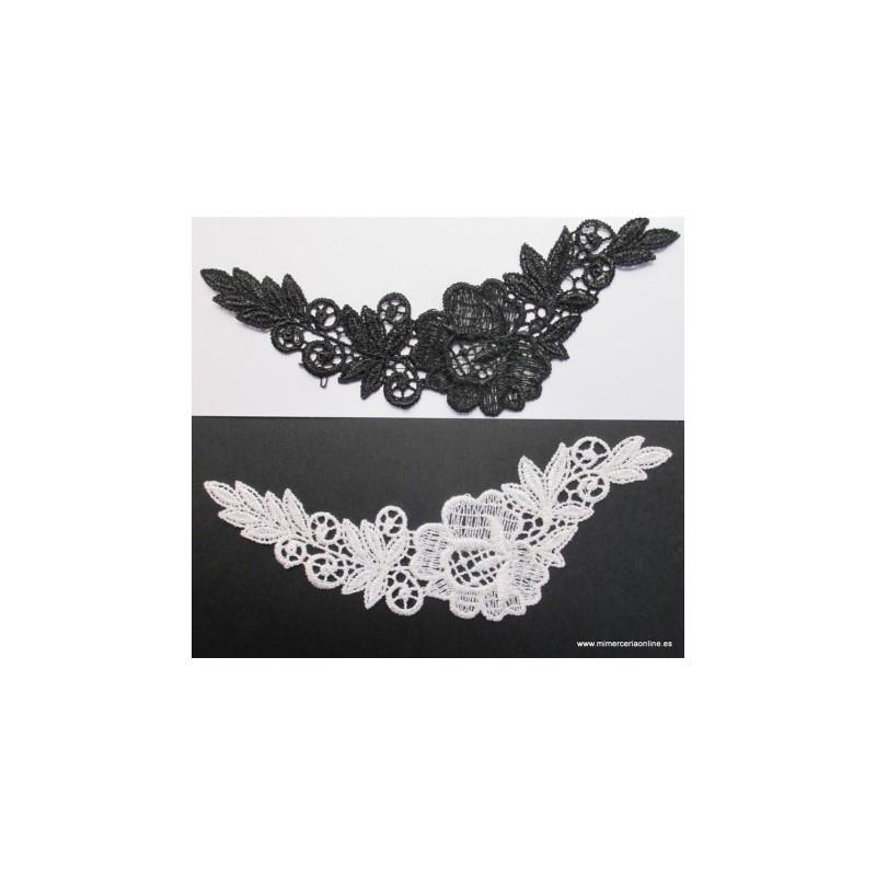 Aplique bordado, blanco o negro, dibujo flor