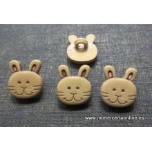 Botón, forma conejo, beige,...