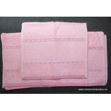 Juego 3 toallas de baño, para bordar, rosa, TROVADOR (ref. 560 SONIA)