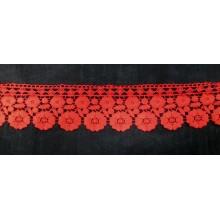 Puntilla guipur roja, 7,6 cm