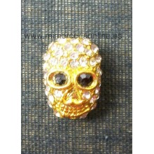 Calavera dorada con brillantes 16 mm