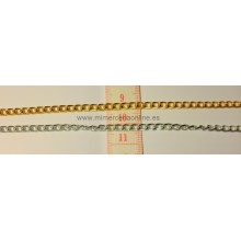 Cadena color oro, oro viejo o plata 4 mm