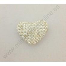 Corazón blanco de brillantes, 21 x 15 mm
