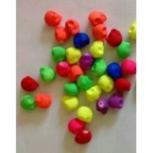 Lote de 20 Calaveras de plástico flúor, 11 mm