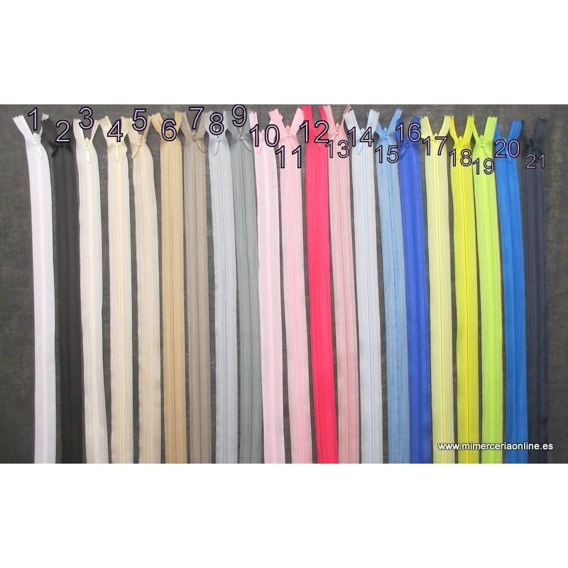 40 cm 10 piezas beige 50 cm 55 cm Cremalleras invisibles de nailon multicolor 25 cm 60 cm 30 cm 25 cm