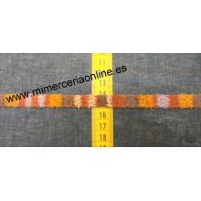 Pasamanería tipo trencilla, colores naranja-marrón-gris, 1,1 cm