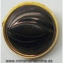 Botón negro y dorado, 12 mm