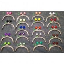 Boquilla monedero, cierre de bolas tipo perla, varios colores, 8,5 cm