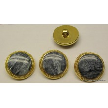 Botón gris efecto mármol con cerco dorado, 26 mm