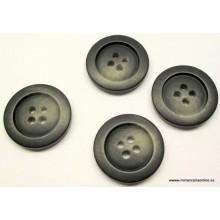 Botón azul muy oscuro, casi negro, 4 agujeros, efecto difuminado, 23 mm