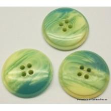 Botón tonos verdes-verdes azulados, 4 agujeros, 23 mm