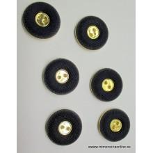 Botón azul marino, con detalle dorado, 28 mm