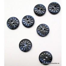 Botón azul marino, estampado rayado, 10 mm