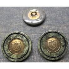 Botón verde, con escudo, 28 mm