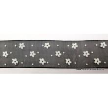 Lazo de gasa negro, con flores y lunares blancos, 25 mm